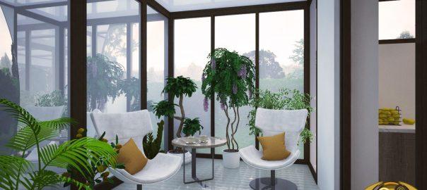 3D-визуализация зимнего сада в доме, Австрия