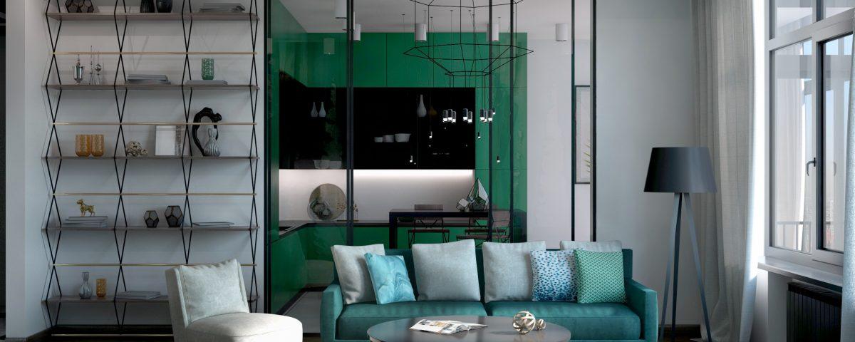 Визуализация кухни и гостиной в зеленых тонах