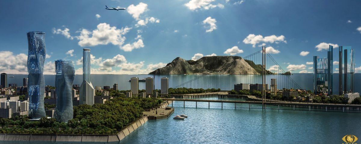 Визуализация ландшафта: Небоскребы Twins 3D-визуализация