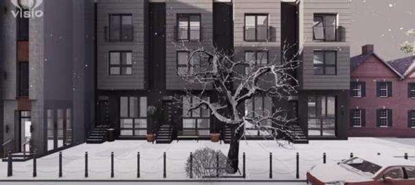 3D-анимация. Город в снегу. Lumion