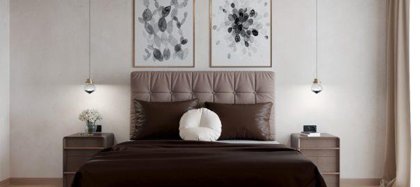 Визуализация спальной в шоколадных тонах